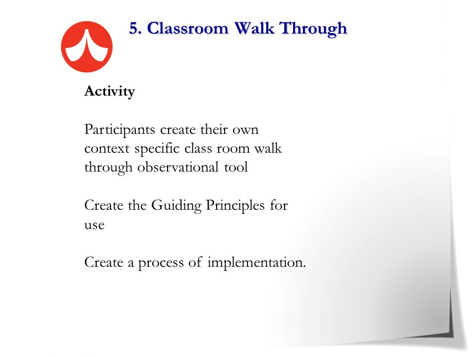 5. Classroom Walk Through