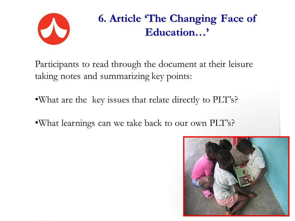 6. Article 'The Changing Face of Education…'