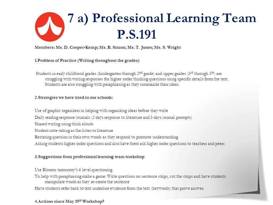 7 a) Professional Learning Team P.S.191