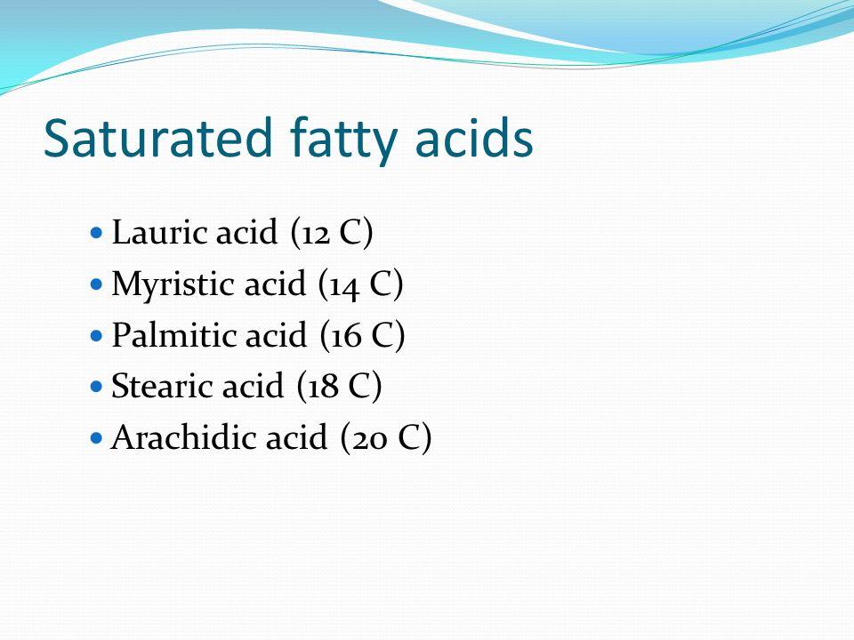 Saturated fatty acids Lauric acid (12 C) Myristic acid (14 C)