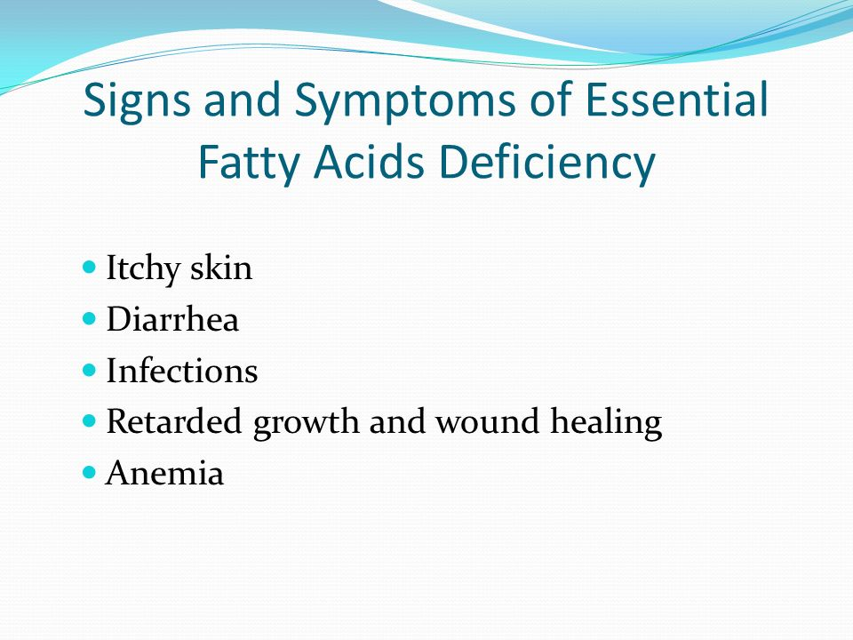 Signs and Symptoms of Essential Fatty Acids Deficiency