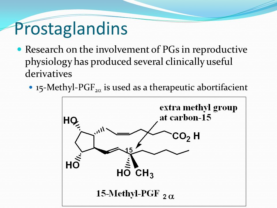 ProstaglandinsResearch on the involvement of PGs in reproductive physiology has produced several clinically useful derivatives.