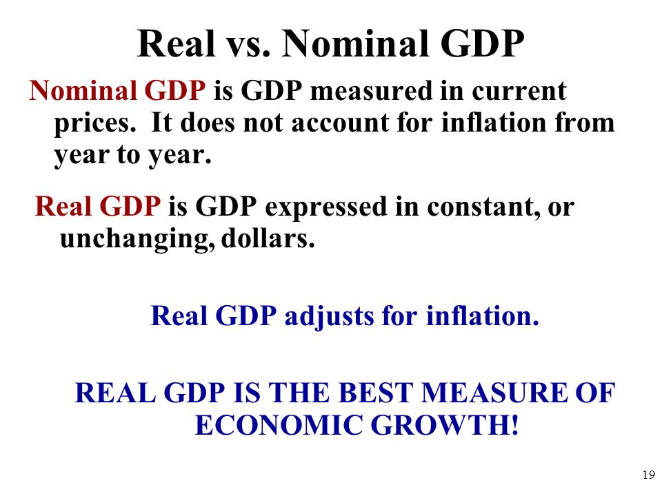 Real vs. Nominal GDPNominal GDP is GDP measured in current prices. It does not account for inflation from year to year.