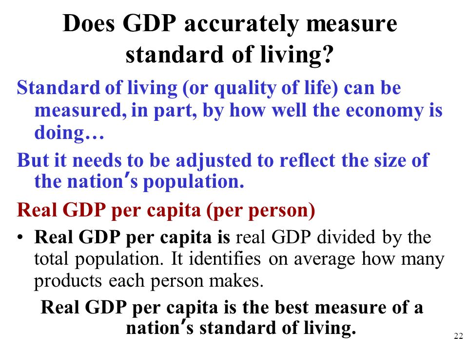 Does GDP accurately measure standard of living
