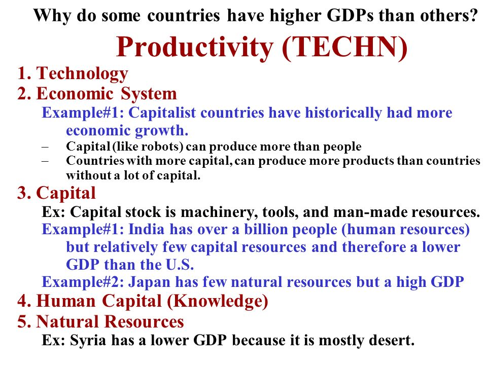 Why do some countries have higher GDPs than others