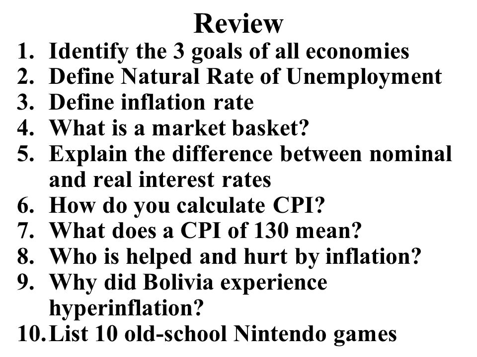 Review Identify the 3 goals of all economies