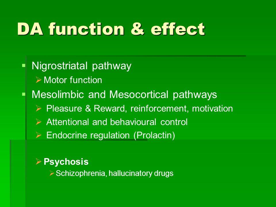 DA function & effect Nigrostriatal pathway