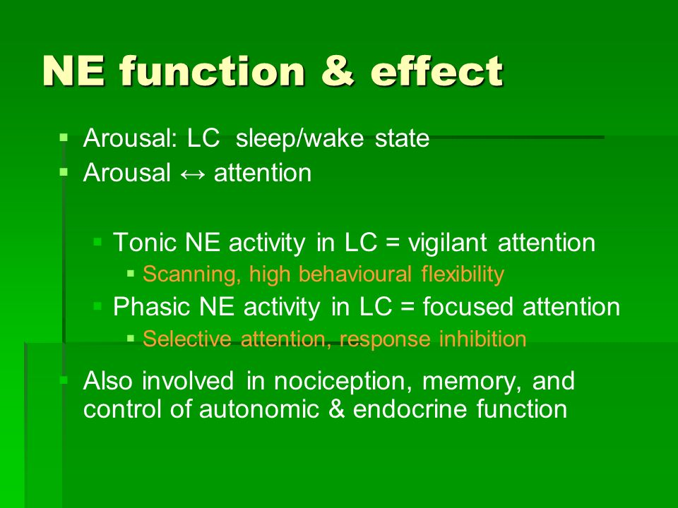 NE function & effect Arousal: LC sleep/wake state Arousal ↔ attention