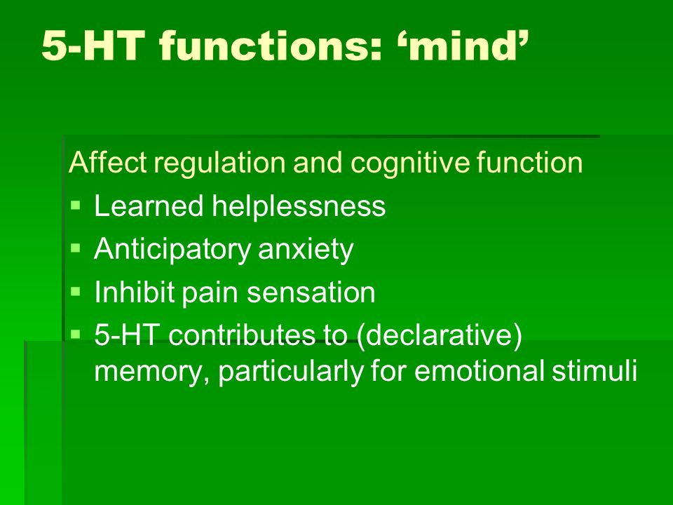 5-HT functions: 'mind' Affect regulation and cognitive function