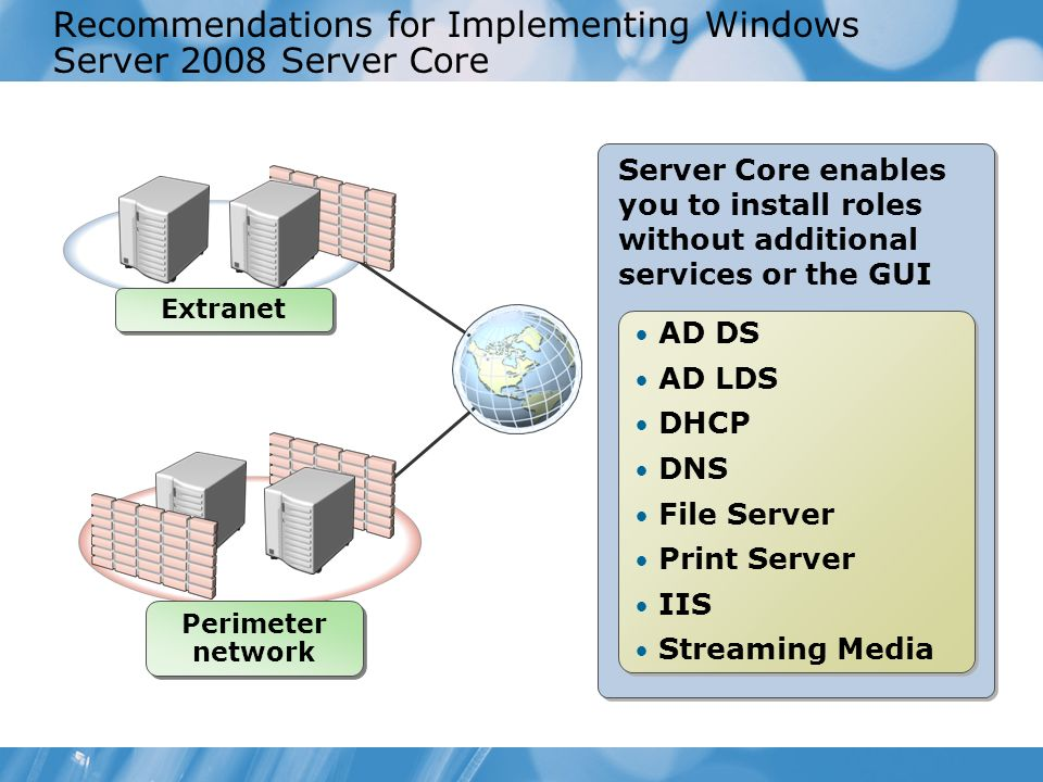 Recommendations for Implementing Windows Server 2008 Server Core