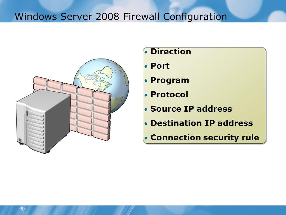 Windows Server 2008 Firewall Configuration