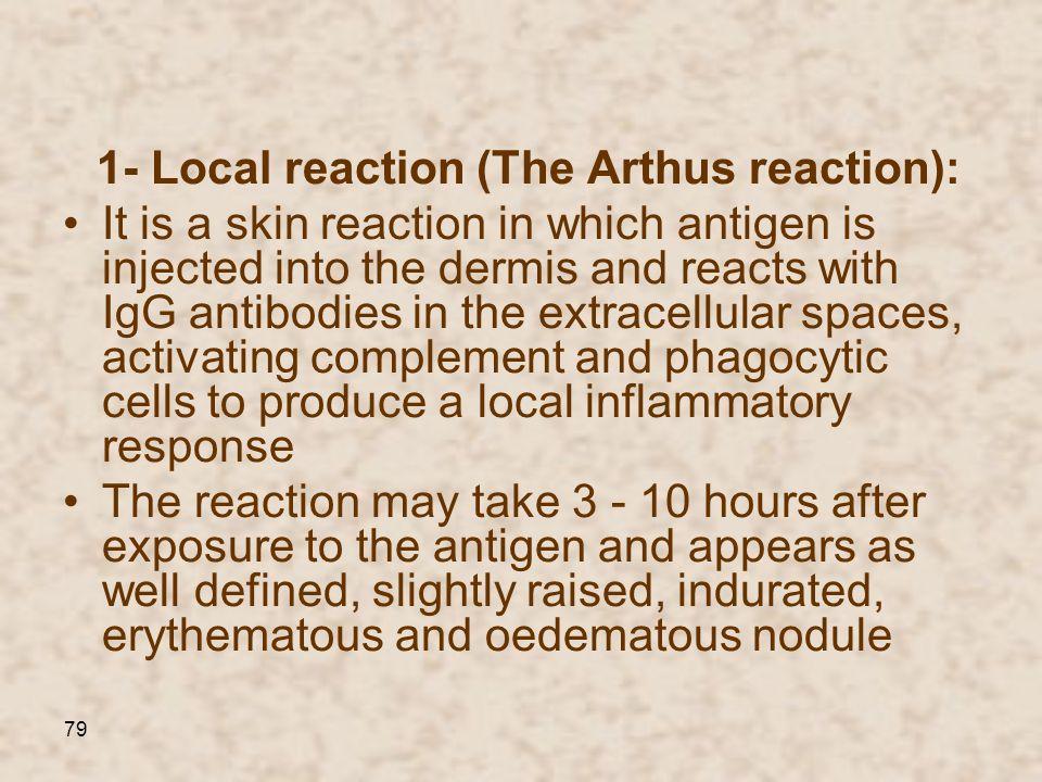1- Local reaction (The Arthus reaction):