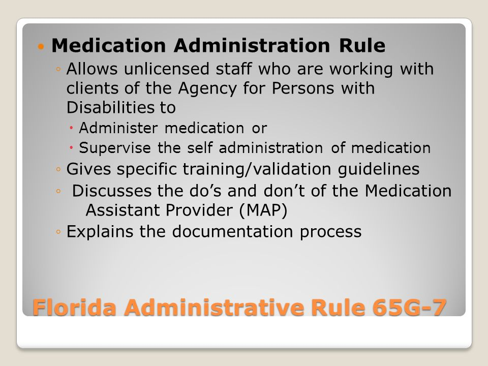 Florida Administrative Rule 65G-7