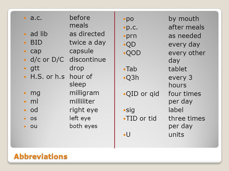 Abbreviations po by mouth a.c. before meals p.c. after meals