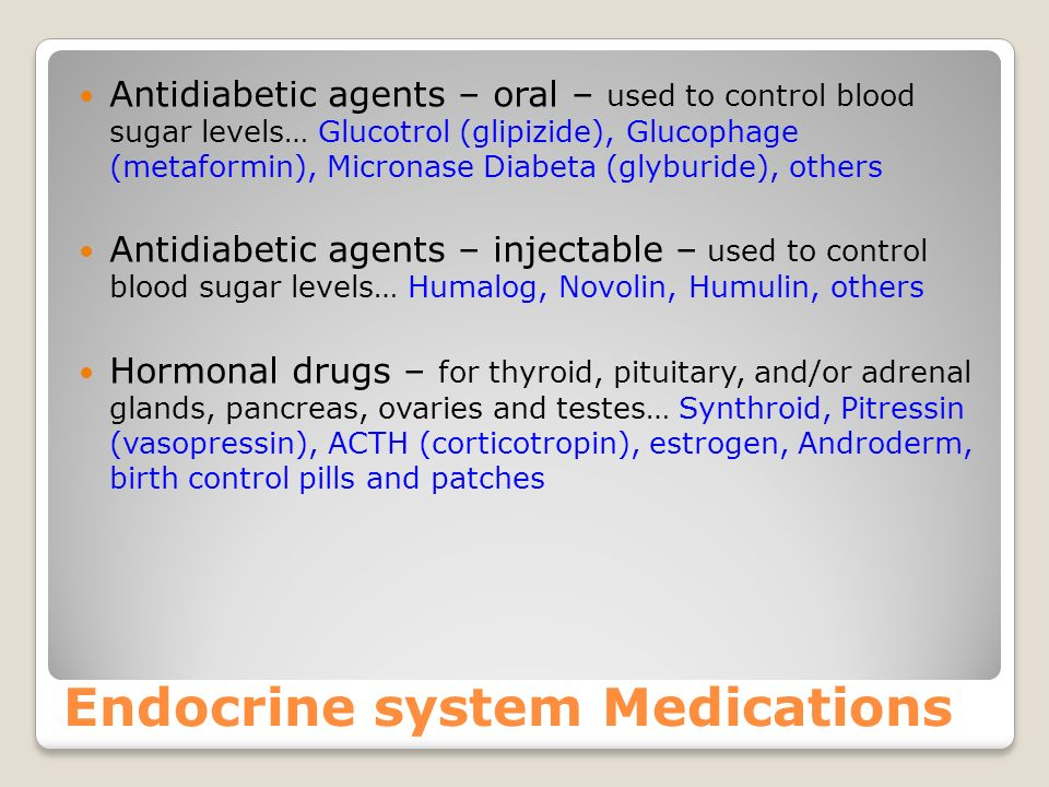 Endocrine system Medications