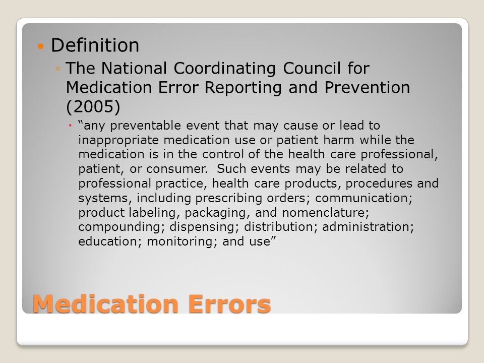 Medication Errors Definition