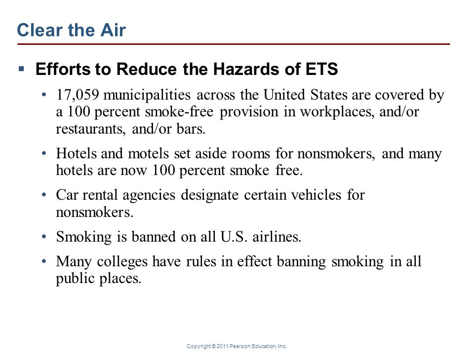 Clear the Air Efforts to Reduce the Hazards of ETS