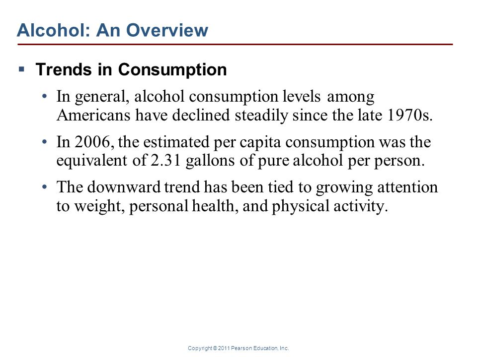 Alcohol: An Overview Trends in Consumption