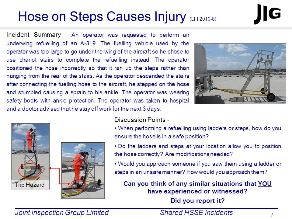 Hose on Steps Causes Injury (LFI 2010-8)