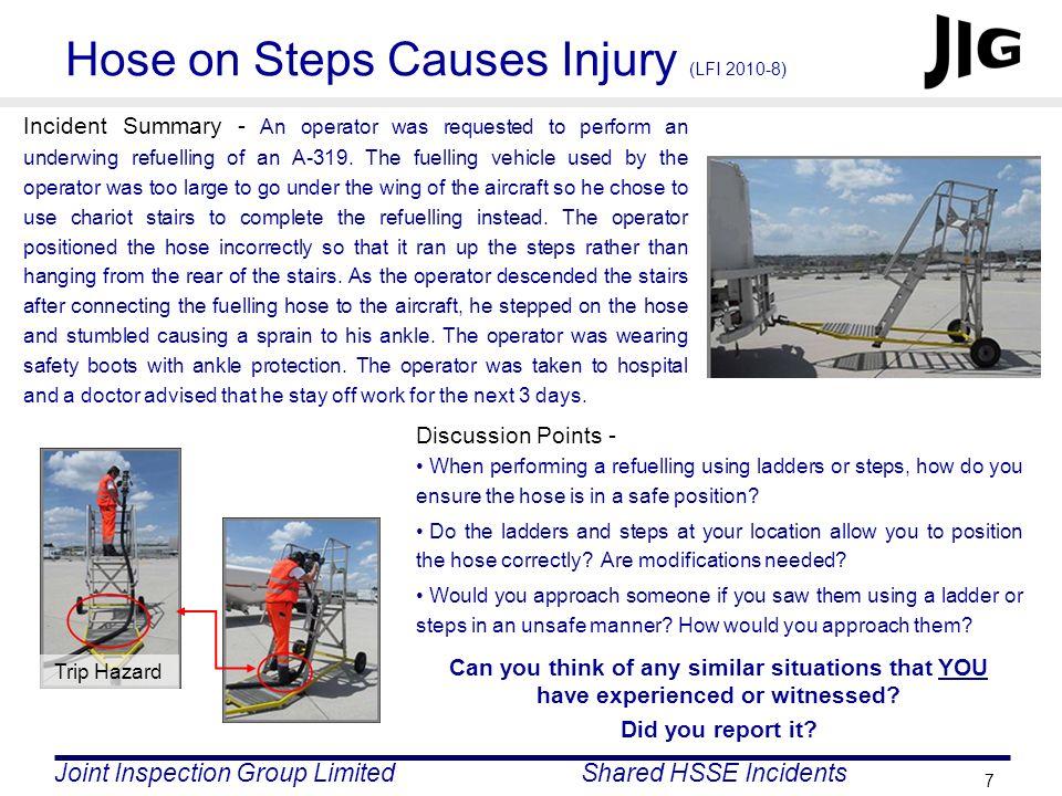 Hose on Steps Causes Injury (LFI 2010-8)