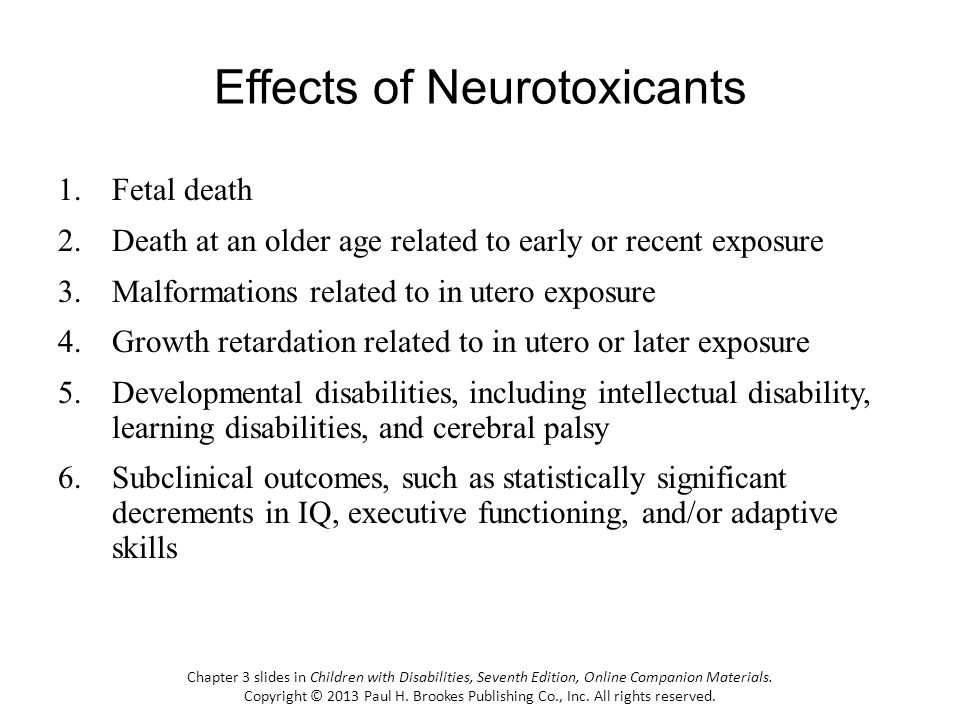 Effects of Neurotoxicants