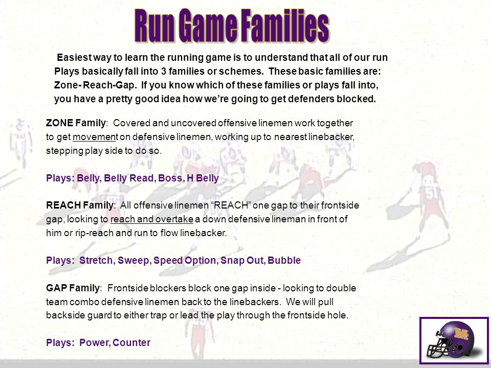 Run Game Families Easiest way to learn the running game is to understand that all of our run.