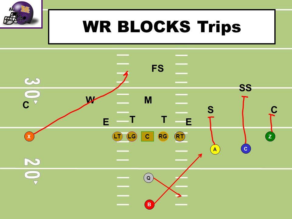 WR BLOCKS Trips FS SS W M C S C T T E E RT LG RG LT C B Q A X Z