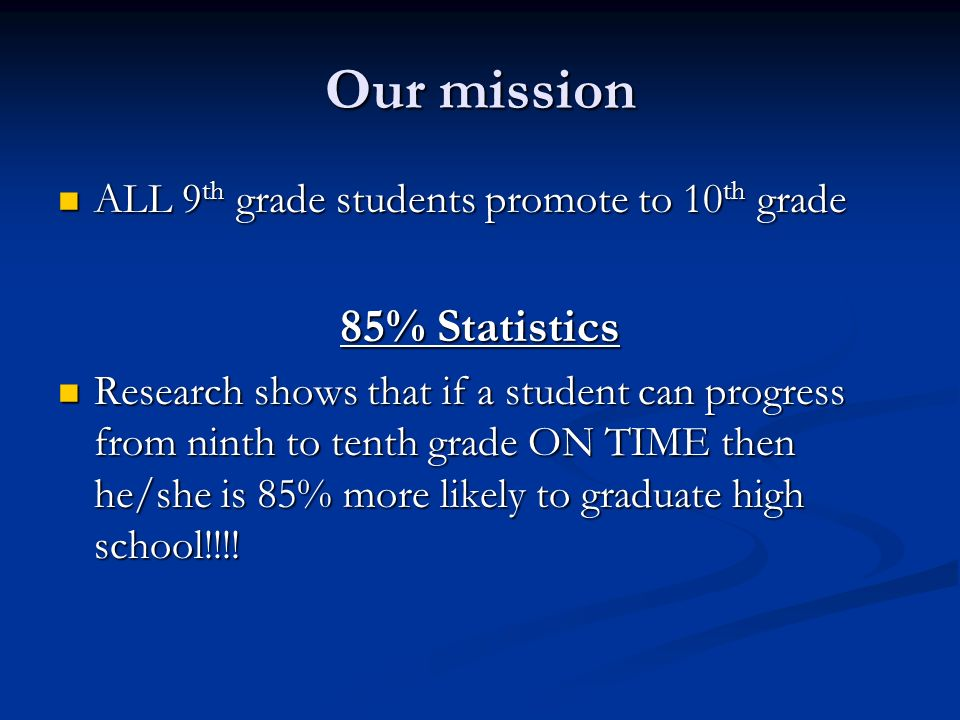Our mission 85% Statistics