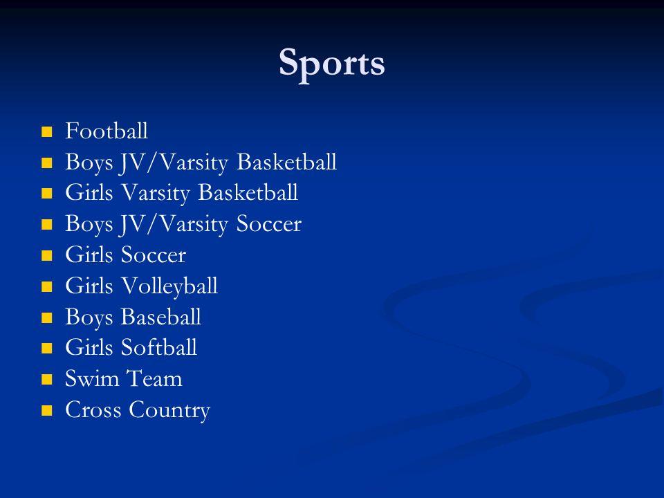 Sports Football Boys JV/Varsity Basketball Girls Varsity Basketball