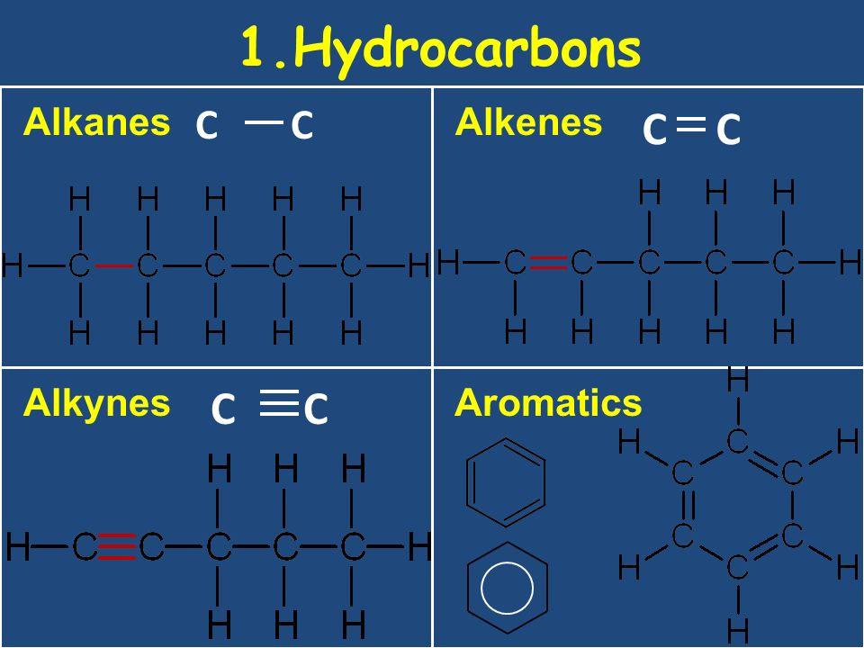 21/10/99 1.Hydrocarbons Alkanes C C Alkenes C C Alkynes C C Aromatics