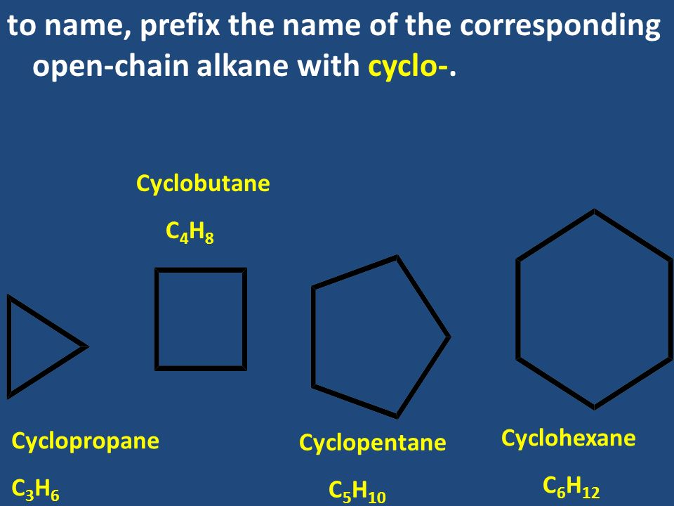 to name, prefix the name of the corresponding open-chain alkane with cyclo-.