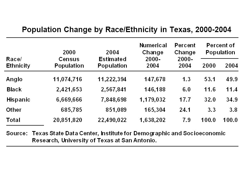 Population Change by Race/Ethnicity in Texas, 2000‑2004