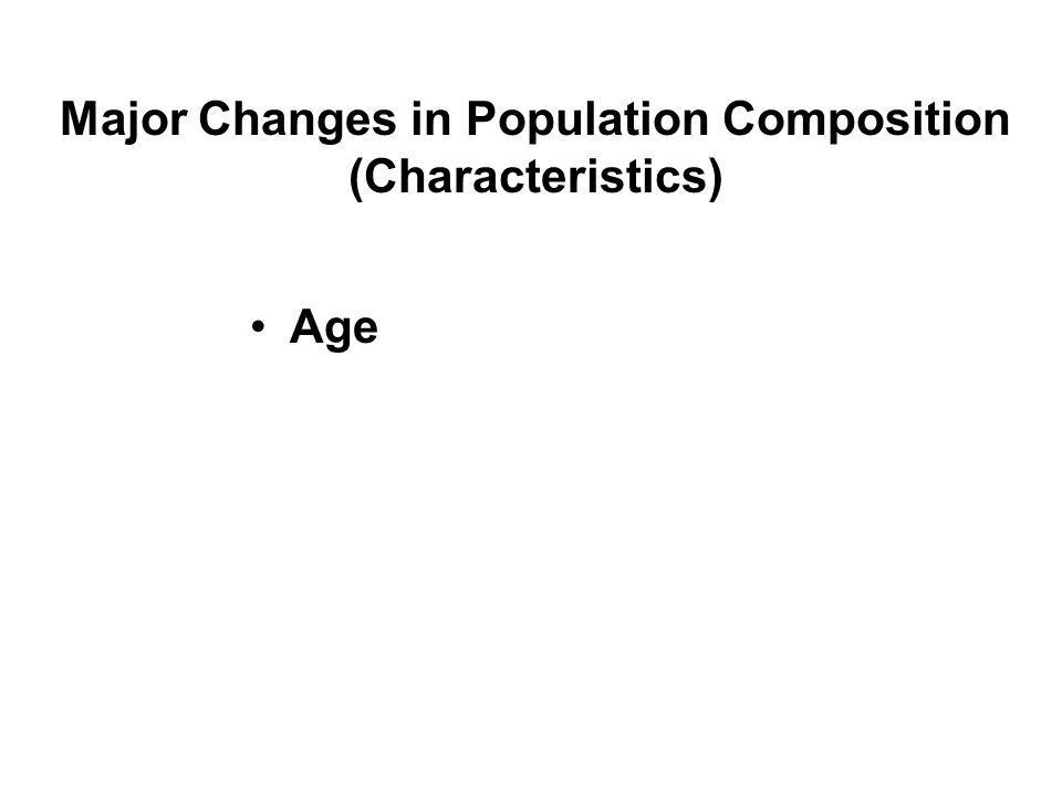 Major Changes in Population Composition (Characteristics)
