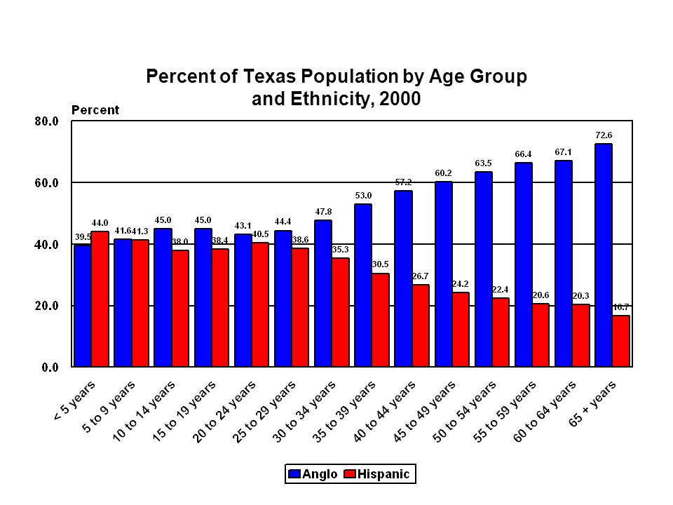 Percent of Texas Population by Age Group and Ethnicity, 2000
