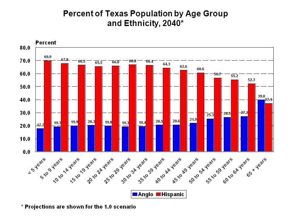 Percent of Texas Population by Age Group and Ethnicity, 2040*