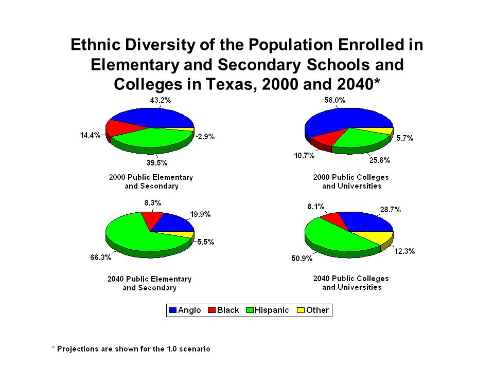 Ethnic Diversity of the Population Enrolled in Elementary and Secondary Schools and Colleges in Texas, 2000 and 2040*