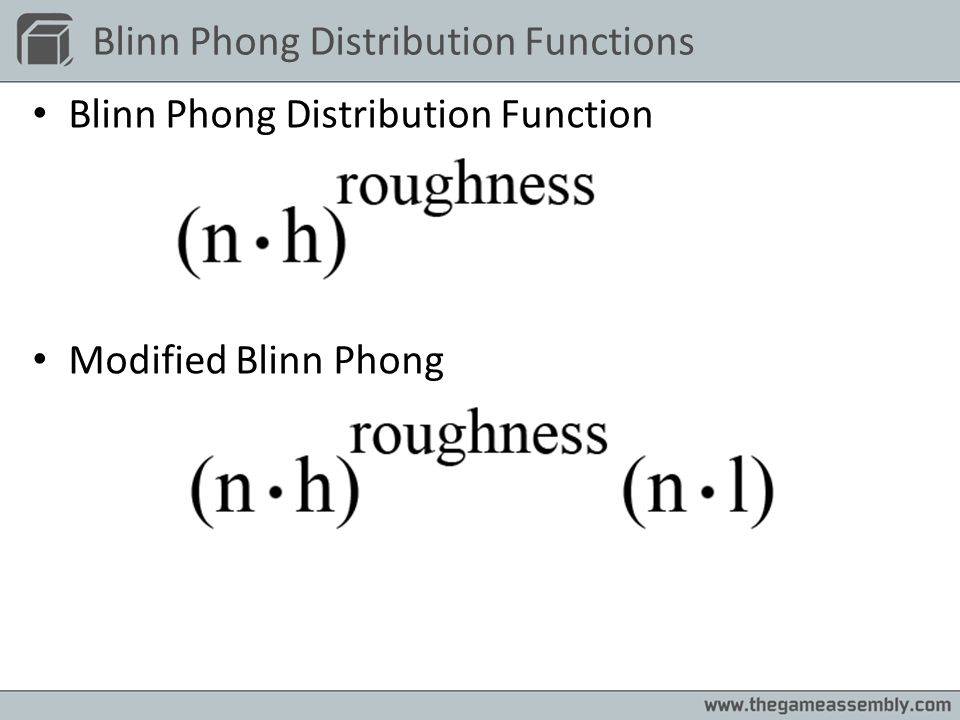 Blinn Phong Distribution Functions