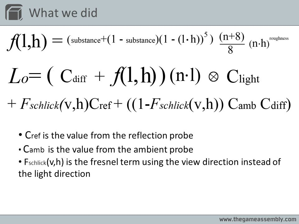 What we did Cref is the value from the reflection probe