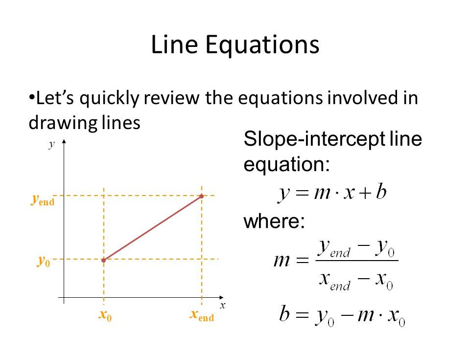 Line Equations Let's quickly review the equations involved in drawing lines. Slope-intercept line equation: