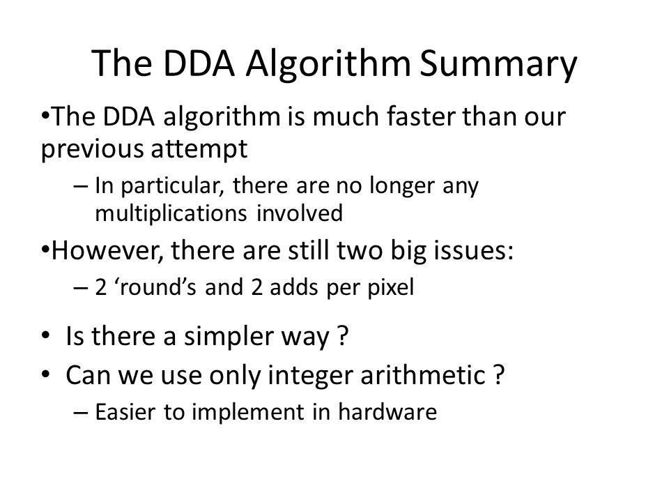 The DDA Algorithm Summary