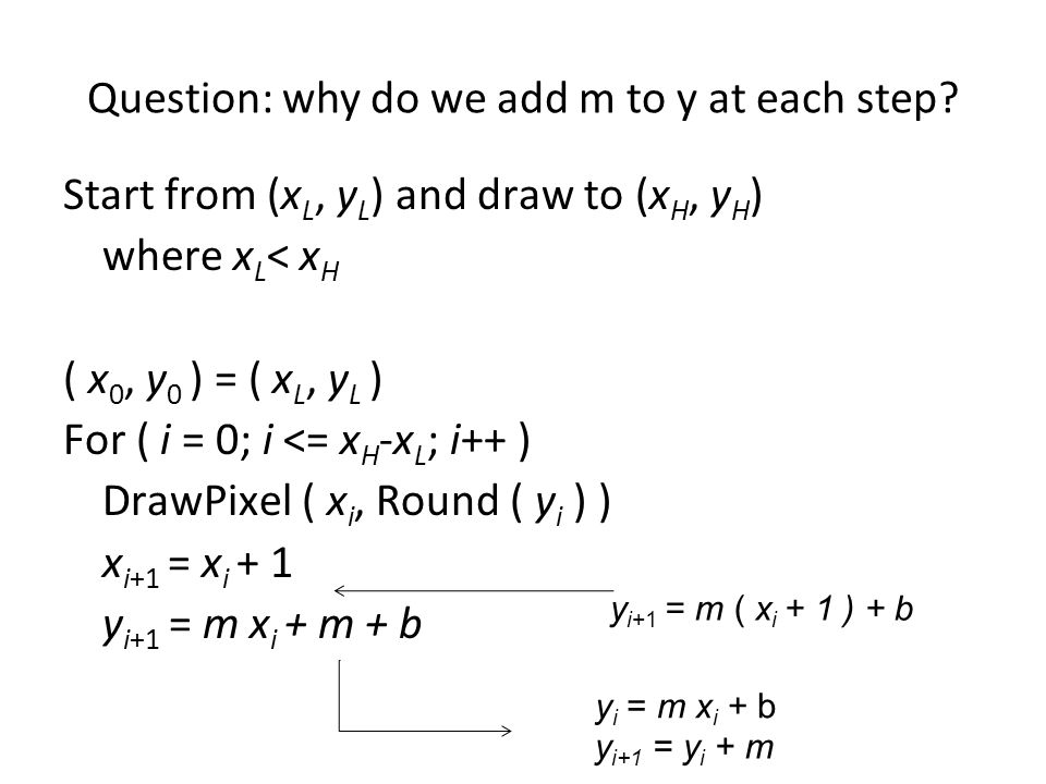 Question: why do we add m to y at each step