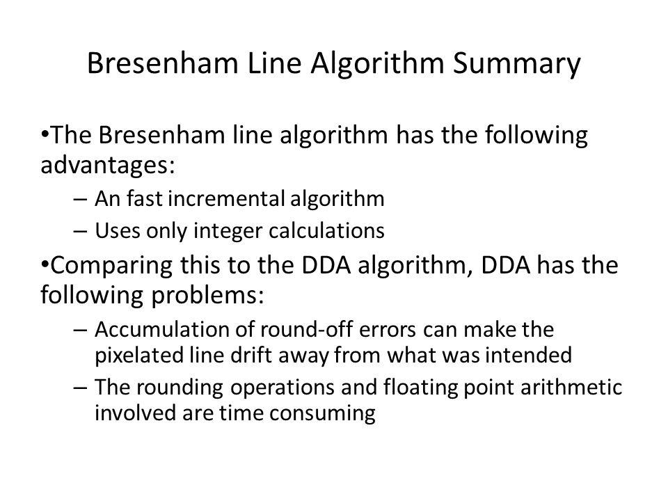 Bresenham Line Algorithm Summary