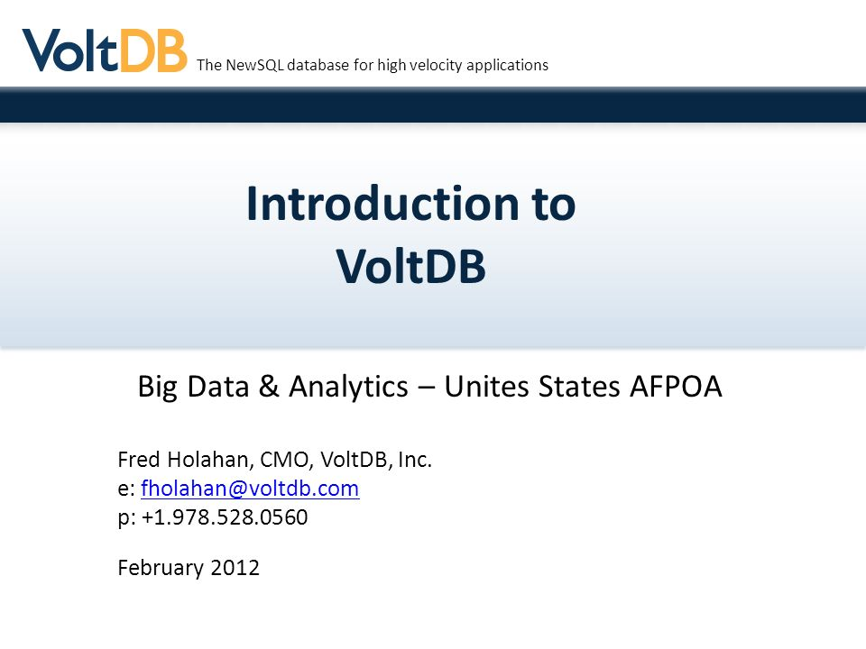 Introduction to VoltDB