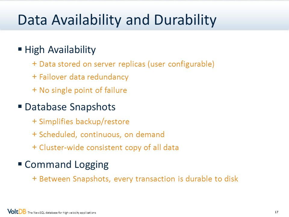 Data Availability and Durability