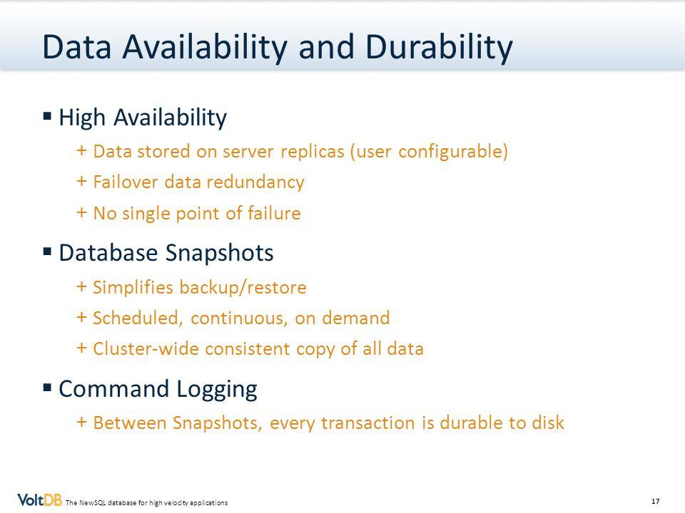 Data Availability and Durability