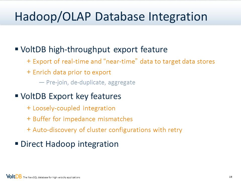 Hadoop/OLAP Database Integration