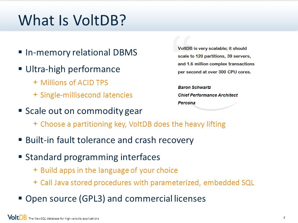 What Is VoltDB In-memory relational DBMS Ultra-high performance
