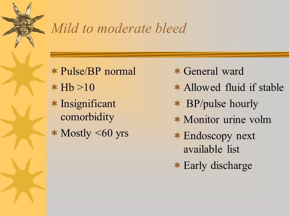 Mild to moderate bleed Pulse/BP normal Hb >10