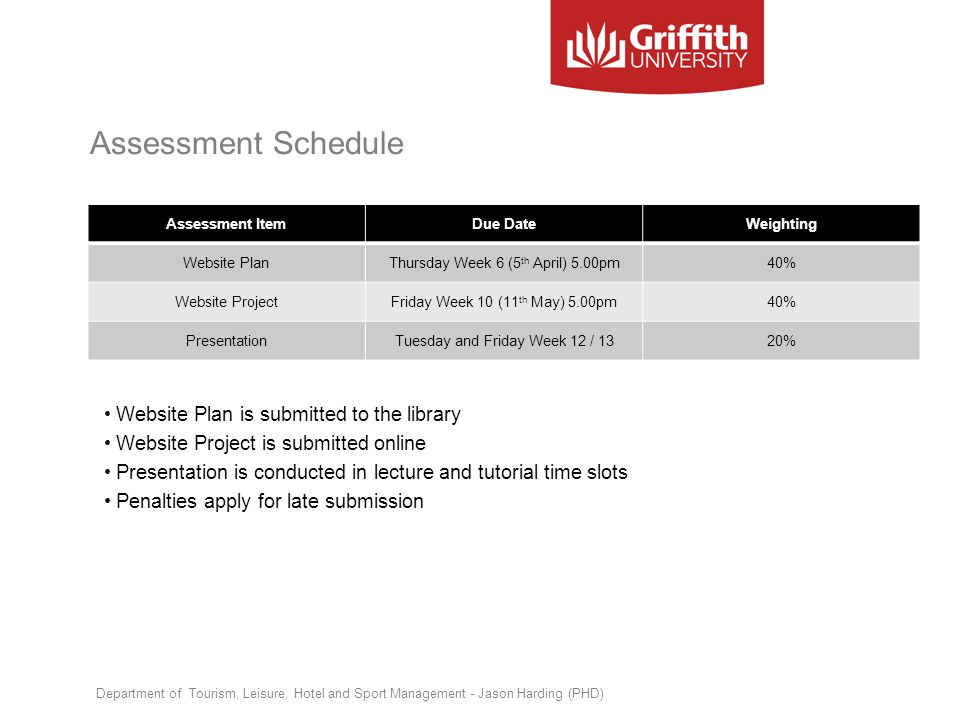 Assessment Schedule Website Plan is submitted to the library