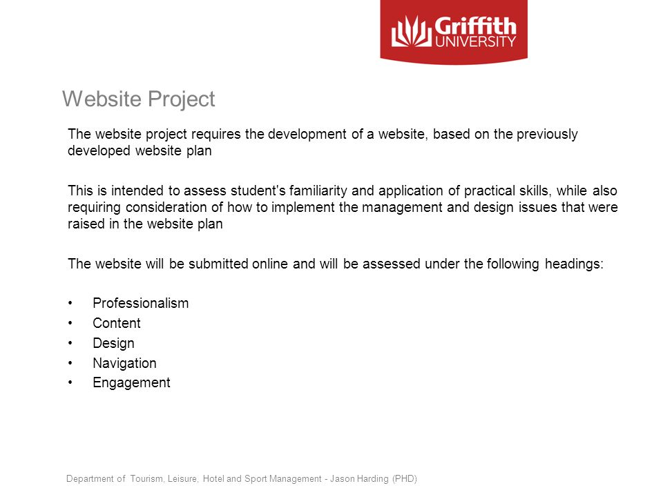 Website Project The website project requires the development of a website, based on the previously developed website plan.